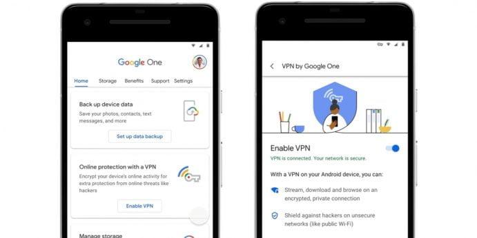 Google One VPN brugerflade